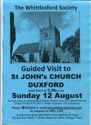 Guided visit to St John's Church, Duxford 3.30pm, Sunday 12th August 2018